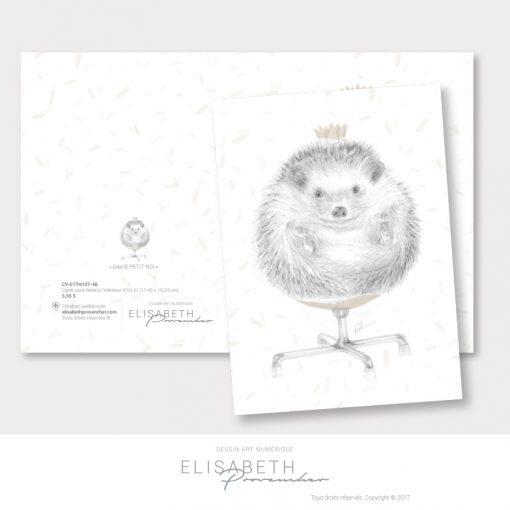 Carte de vœux hérisson «DAVID PETIT ROI» - Elisabeth Provencher, artiste