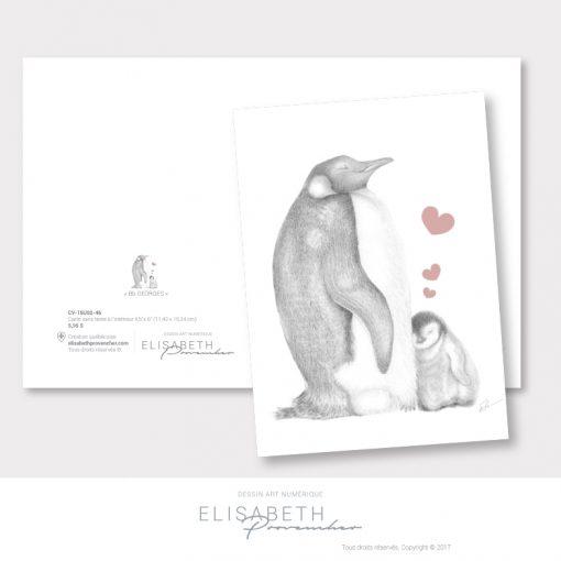 Carte de vœux manchot «Bb GEORGES» - Elisabeth Provencher, artiste