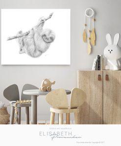 Affiche paresseux « MARQUIS DE PAPOU » - Elisabeth Provencher, artiste