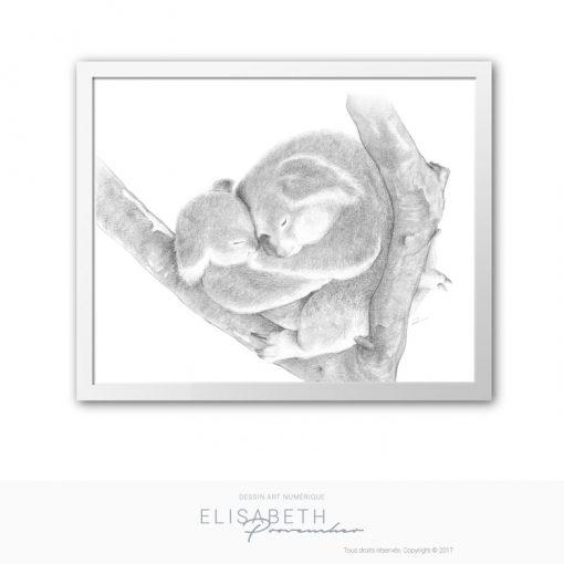 Affiche « KOALA MON PETIT AMOUR » - Elisabeth Provencher, artiste