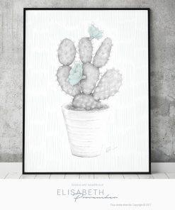 Affiche «CACTUS» vert - Elisabeth Provencher, artiste