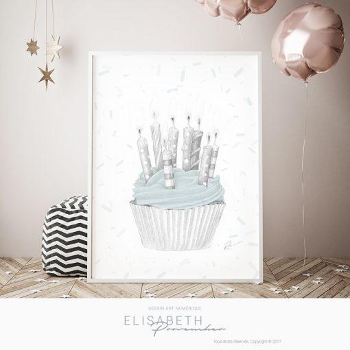 Affiche «CUPCAKE» bleu - Elisabeth Provencher, artiste