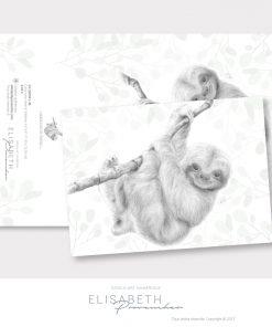 Carte de vœux paresseux «MARQUIS DE PAPOU» - Elisabeth Provencher, artiste