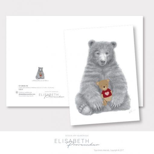 Carte de vœux ours «MISS MILLIE & Ninie» - Elisabeth Provencher, artiste