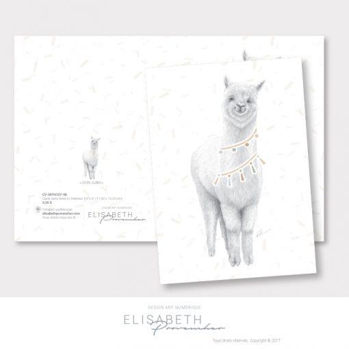 Carte de vœux alpaga «DON JUAN» - Elisabeth Provencher, artiste
